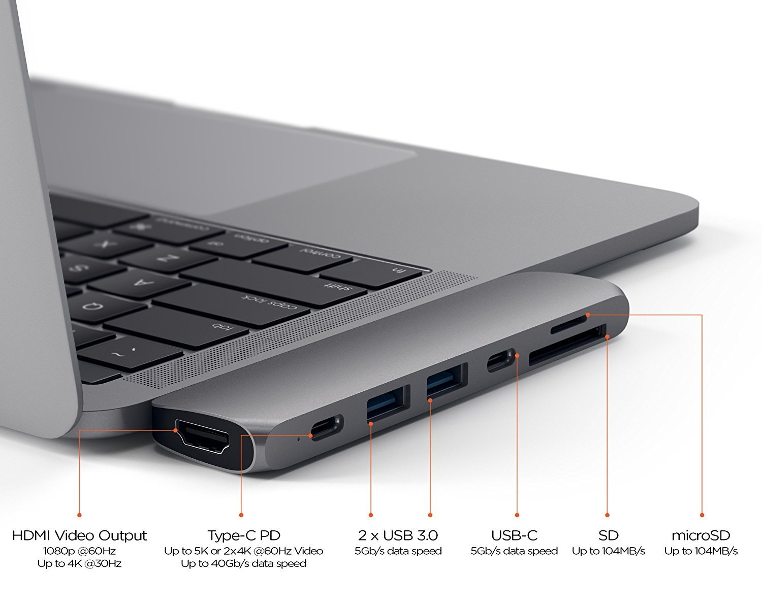 USB-хаб (концентратор) Satechi Aluminium Type-C Pro Hub Adapter Space Gray для MacBook Pro