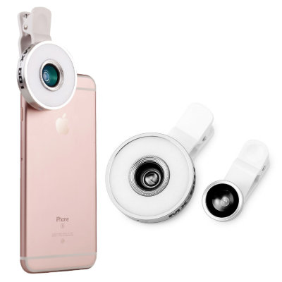 Объектив + кольцо с селфи-лампой для iPhone и других телефонов — 6 in 1 Lens With Selfie Ring Silver