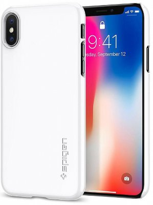 Чехол Spigen Thin Fit для iPhone X Jet White (057CS22112)