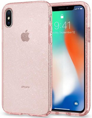Чехол  Spigen Liquid Crystal Glitter Rose Quartz для iPhone X  (057CS22654)