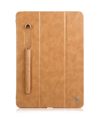 Чехол Jisoncase Mirco Fiber Leather Case с отсеком для Apple Pencil для iPad 9.7 (2017/18) Brown