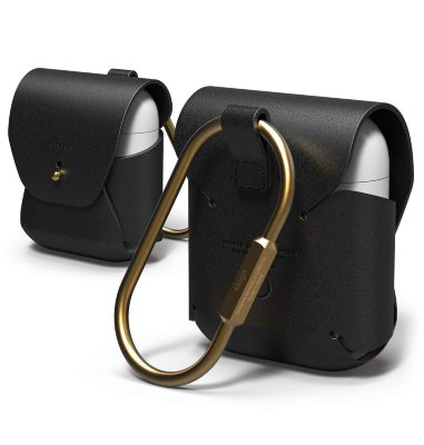 Кожаный чехол для AirPods Elago Genuine Cow Leather Case Black