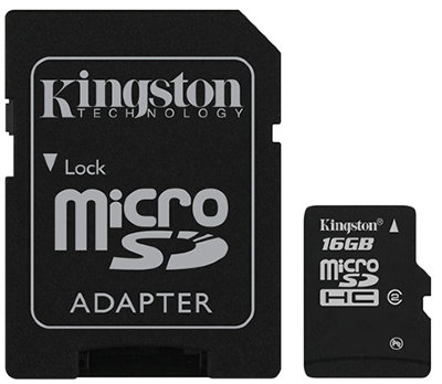 Карта памяти Kingston microSDHC 16 Gb Class 10 + Adapter