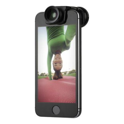 Объектив Olloclip 3-in-1 Selfie Lens Set для iPhone SE/5/5S Black Lens / Black Clip